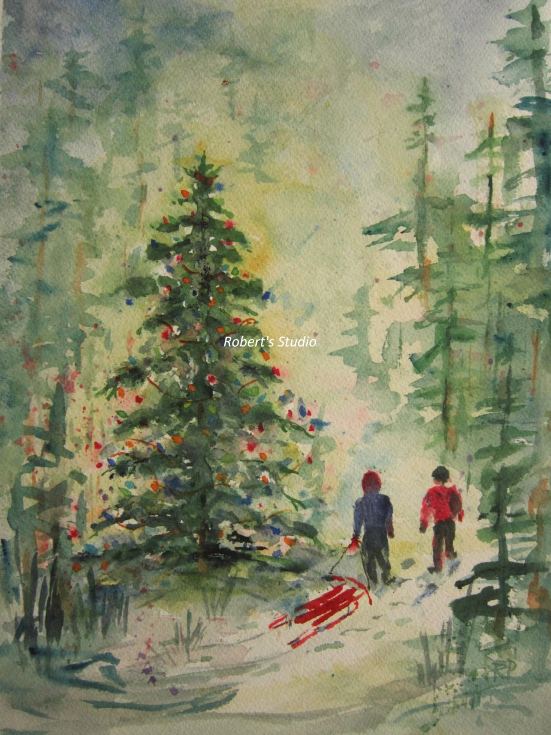 Christmas Painting Christmas Tree Print Of Original