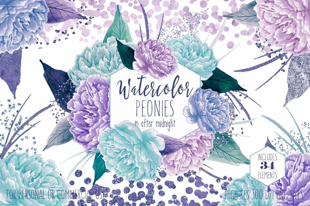 teal & purple floral clipart commercial