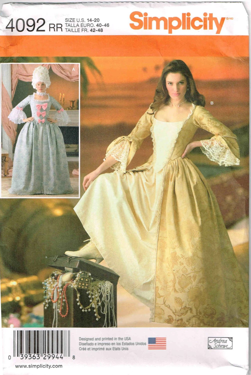 Marie Antoinette Pirate Reenactment Dress Gown Simplicity 4092