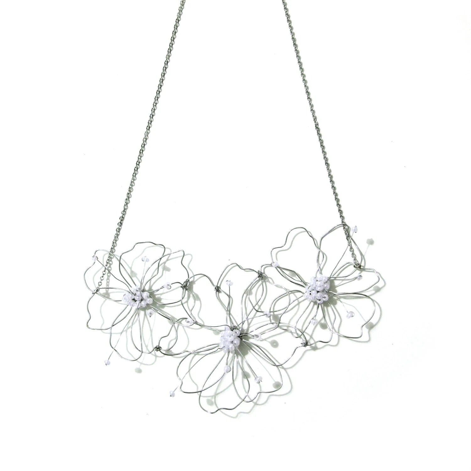 Wire Flower Statement Necklace