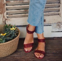 Color Midsummer. Boho Leather Sandals Barefoot