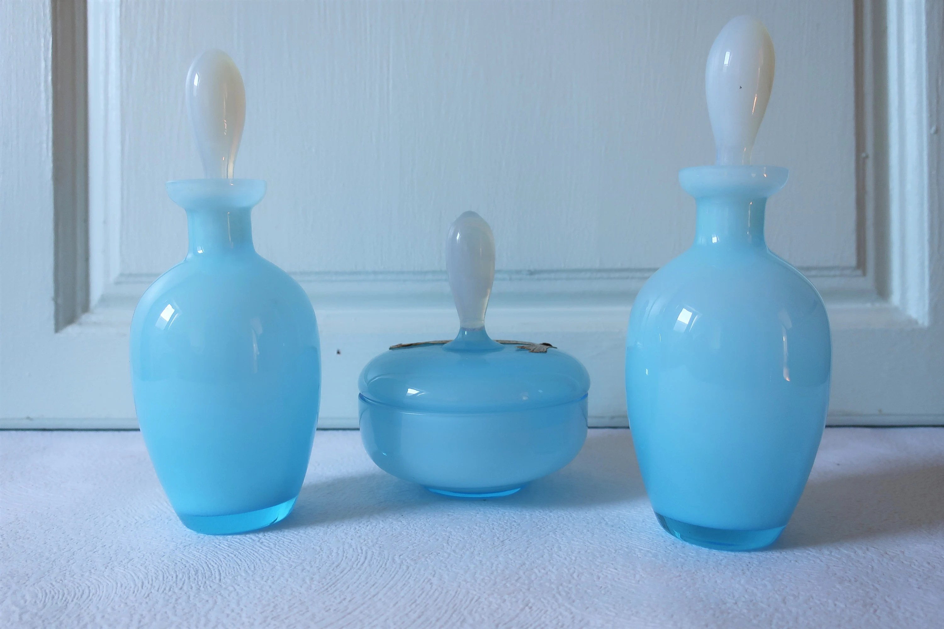French Dressing Table Glass Vanity Set Blue Opaline Opaque