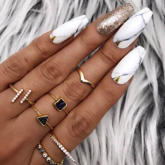 black white marble gold foil leaf studs