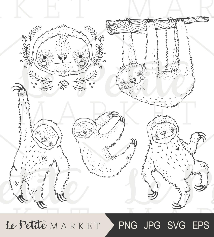 Hand gezeichnete Faultier-ClipArt-Grafiken niedliche Faultier