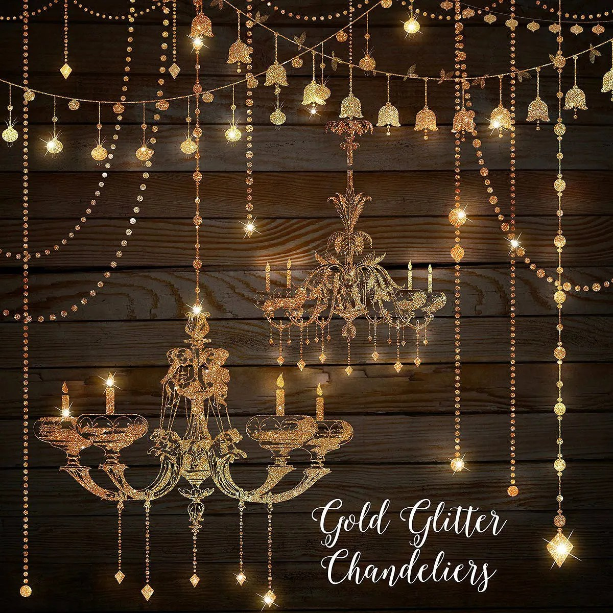 Gold Glitter Chandeliers Clipart Chandelier Clip Art String