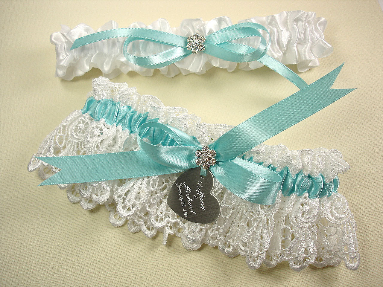 Personalized Wedding Garter Set In Robin's Egg Blue And