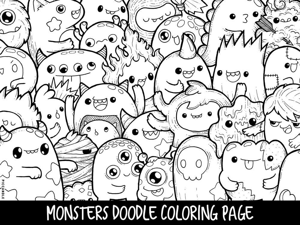 Monsters Doodle Coloring Page Printable Cute/Kawaii Coloring