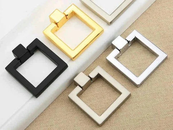 Kitchen Cabinet Hardware 2.5 Inch Square Dresser Pull Knobs Drawer Knob Pulls Handles Drop Rings