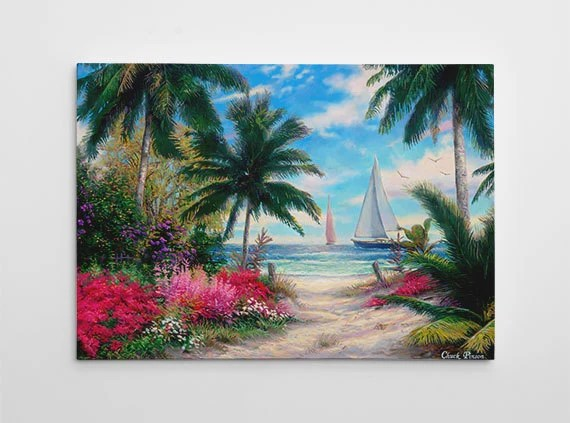 Palm Tree Painting Beach Tropical Canvas Art Large Paradise