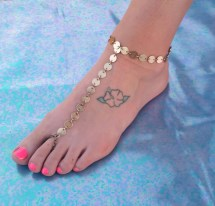Gold Coin Chain Barefoot Sandal Slave Anklet Foot Thong