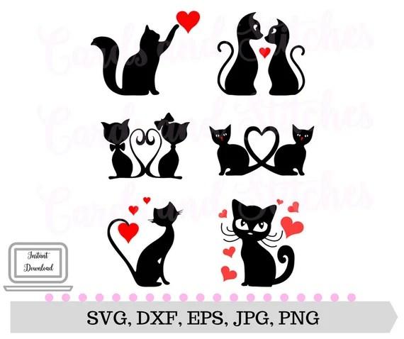 Download Cats SVG Valentine Cats SVG Cat Lover's SVG Digital