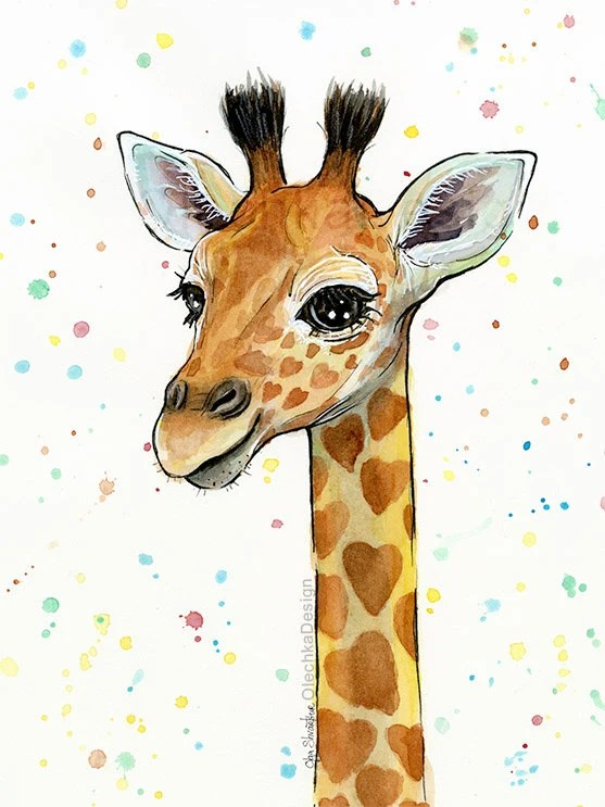 Cute Cartoon Penguins Wallpaper Baby Giraffe Watercolor Art Print Heart Shaped Sports Giraffe