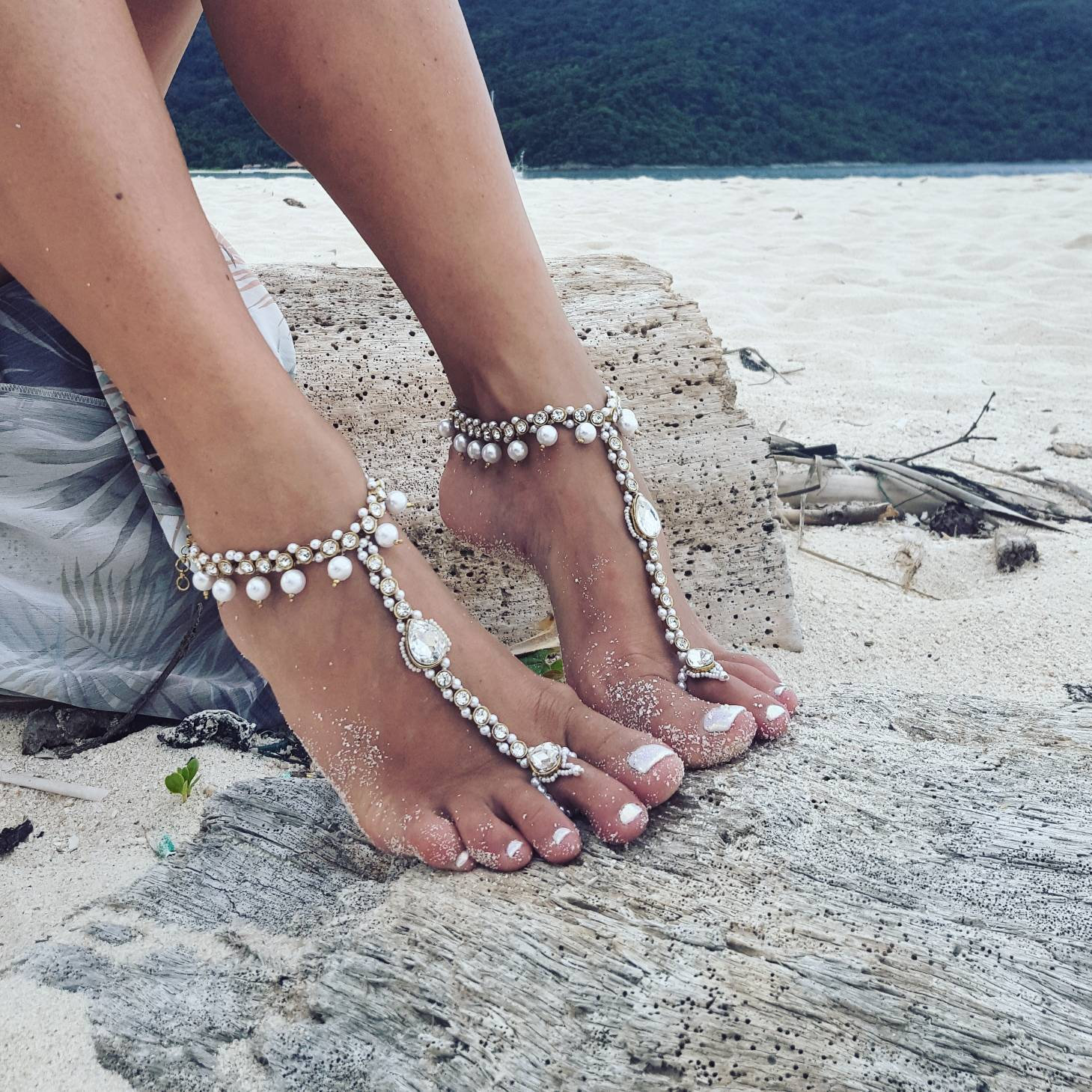 Beach Wedding Barefoot Sandals Bridal Pearl Anklet