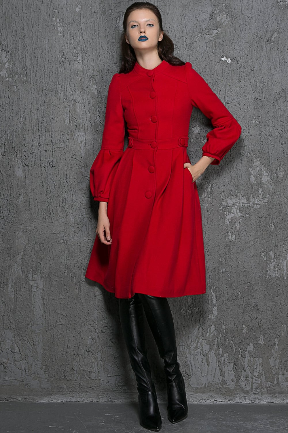 Red Fit and Flare Winter Coat