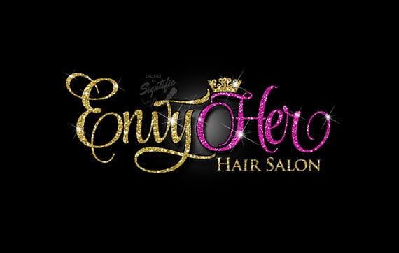 glitter bling hair salon logo custom