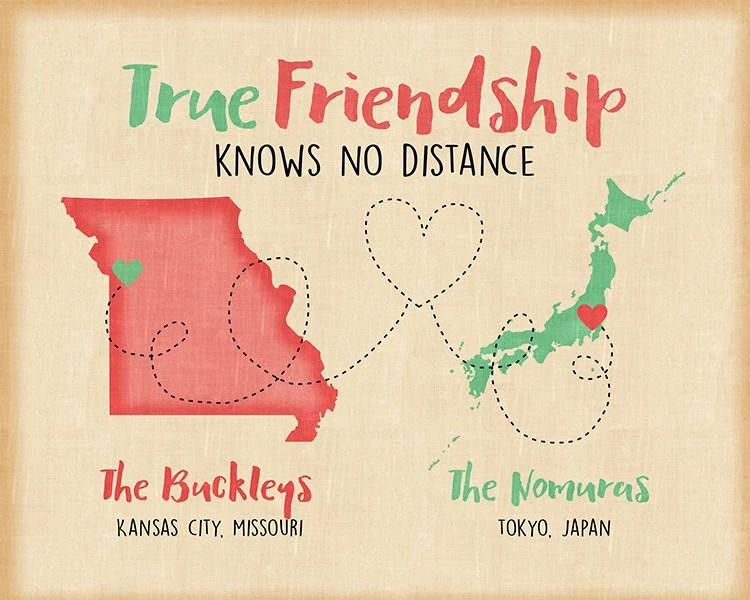 True Friendship Maps Custom Long Distance Gift For
