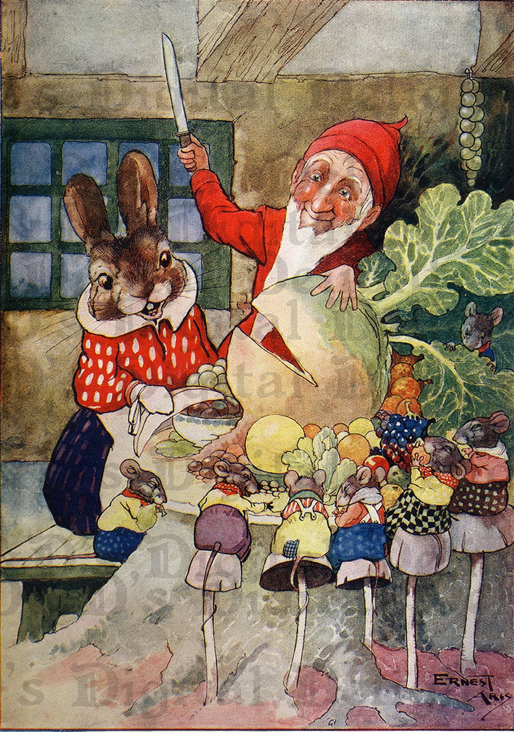 Adorable Gnome And Bunny. Vintage Fairy Tale Digital