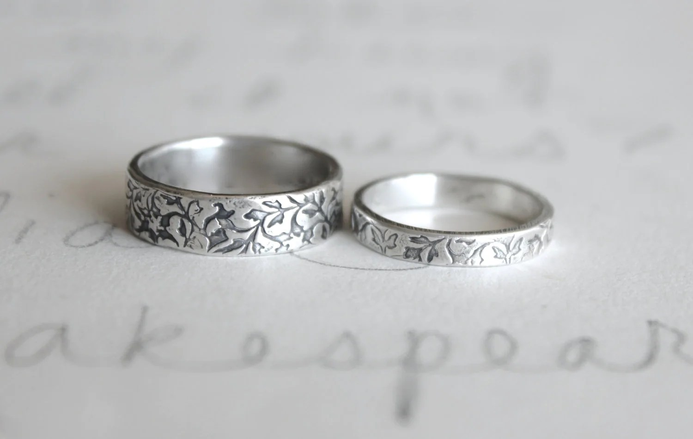 wedding band ring set  vine leaf wedding rings bands