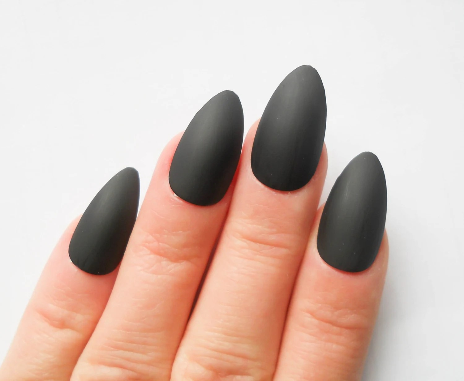 matte black nails fake
