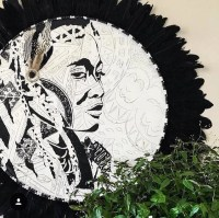 Round Tribal Wall Art Black Feathers and White Timber Porthole
