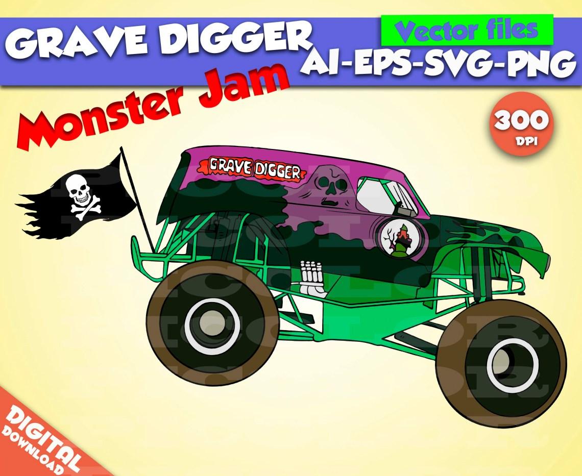 Download Grave Digger svg Monster Jam svg Monster Truck svg Monster Jam