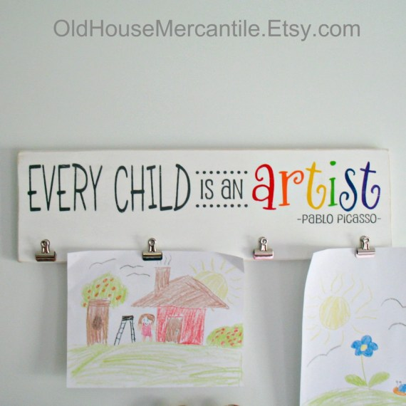 Artist Wooden Sign With Clips