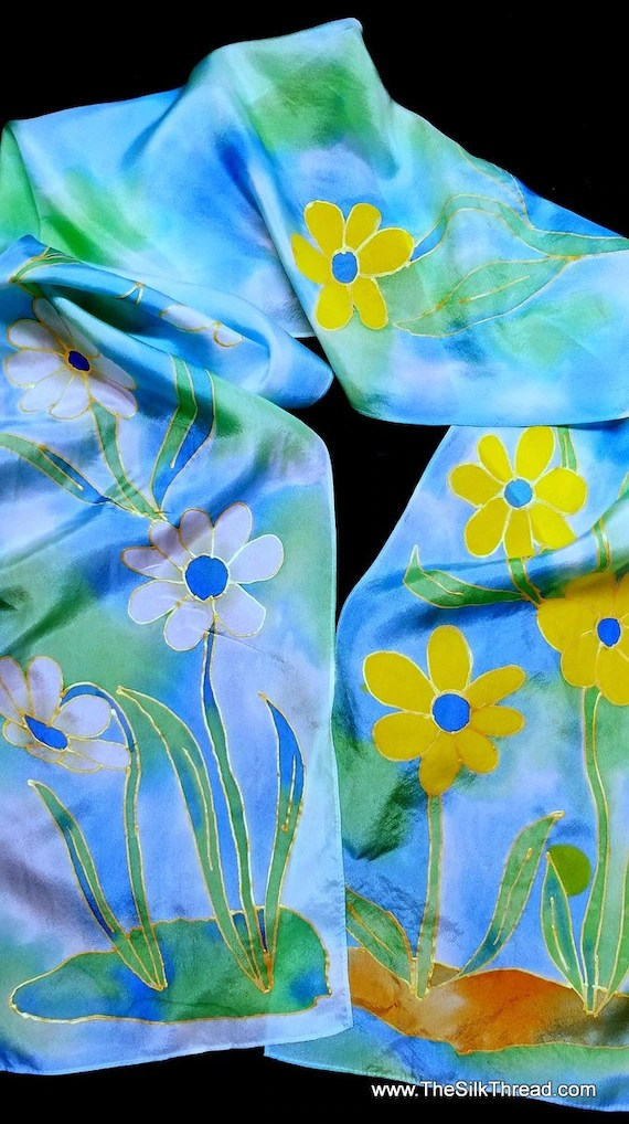 """Silk Scarf,Original Hand Drawn Yellow & White Flowers by Artist, 8""""x72"""", Multcolored, One of a Kind, Custom Designs available, free ship US"""