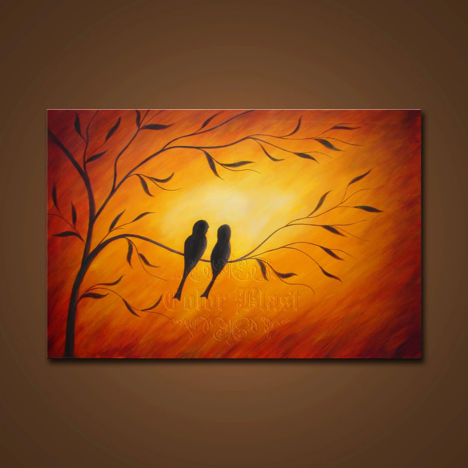 Abstract Painting Love Birds