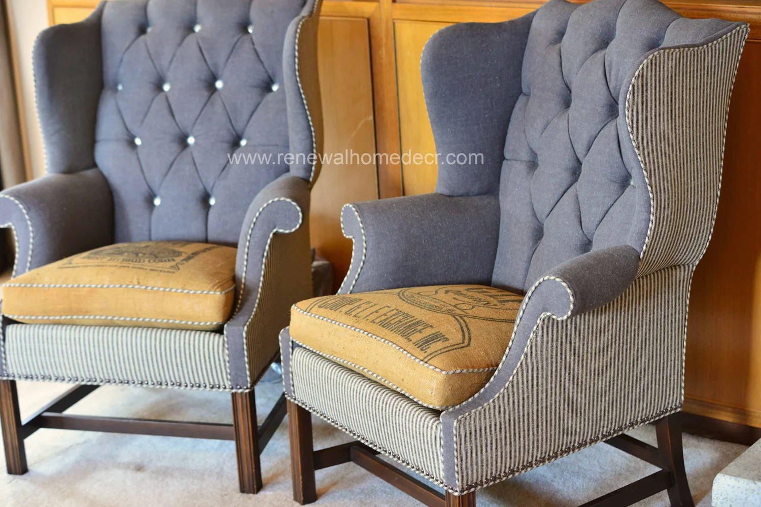 Retro Wing Chair Custom Order Vintage Upholstered Wing Back Chair