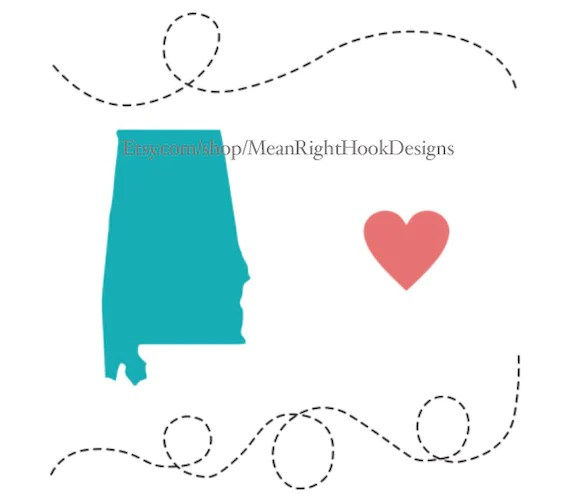 Download Alabama SVG state svg silhouette heart svg and dotted line