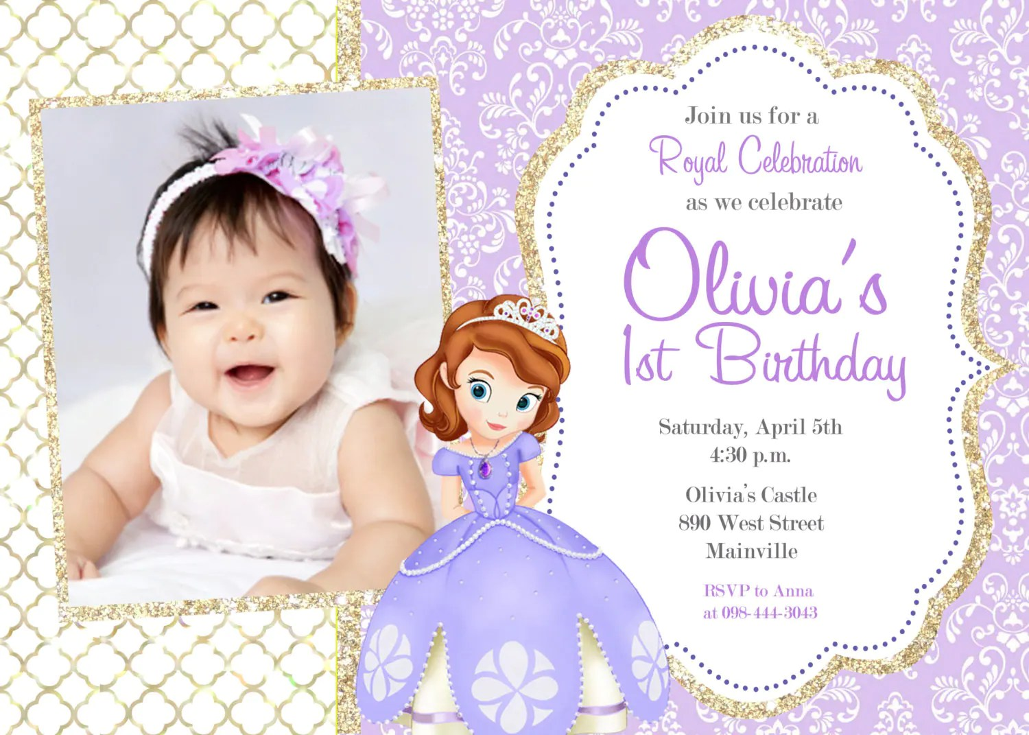 Sofia First Birthday Invitations Template