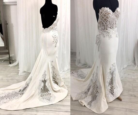 Low Back Wedding Dress Lace Wedding Dress Strapless Wedding