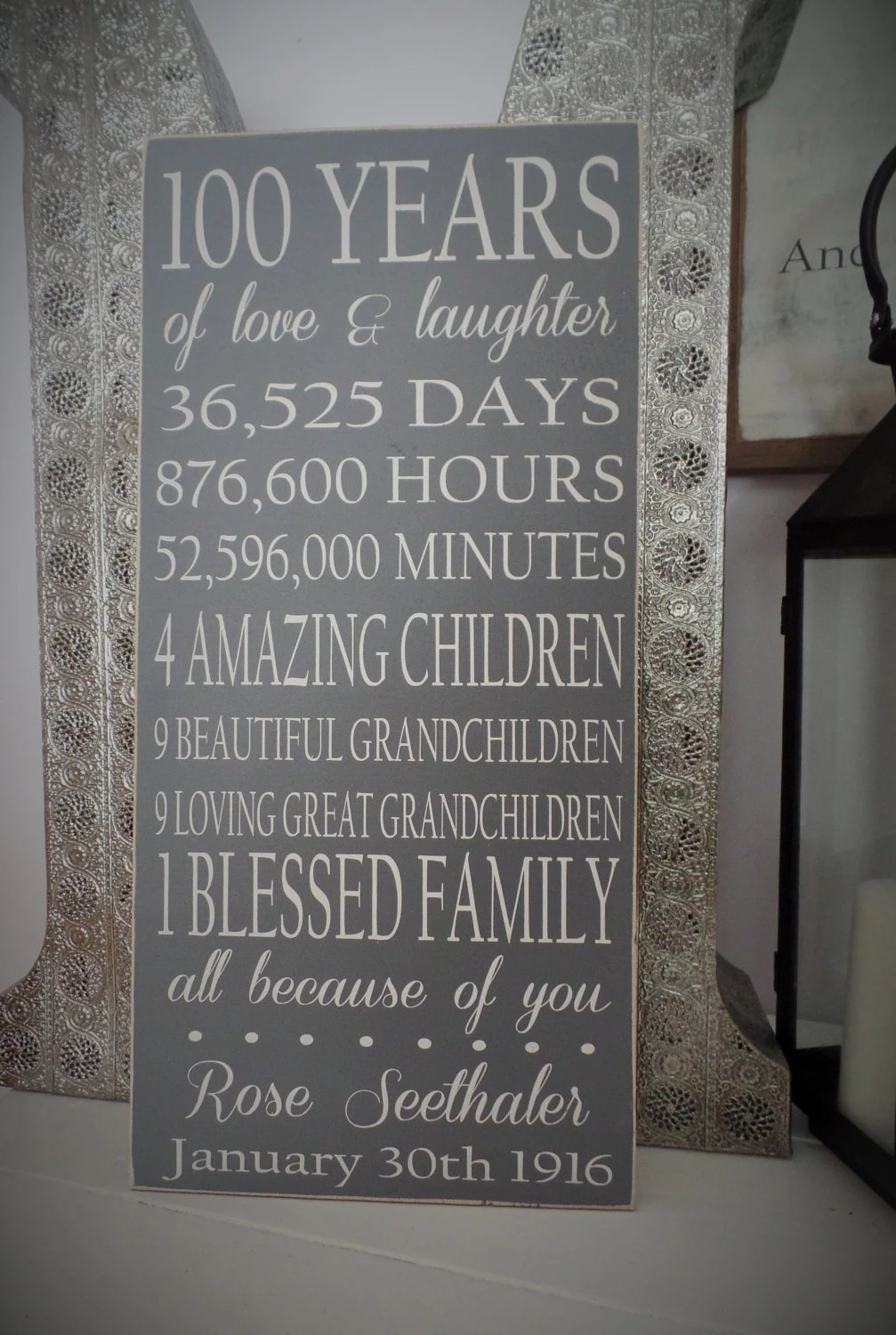 Birthday Gift Wood SIgn 100 Year Wooden Sign 90th Birhtday