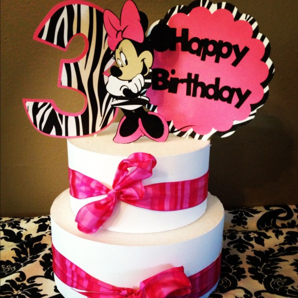 Minnie Mouse Cake Topper Pink And Zebra 3 Piece Free