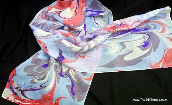 "Large Marbled Silk Scarf. Hand Dyed, Beautiful Bold Colors, Abstract, Swirling Design,Blue, Red, Purple, by Artist, 14"" x 72"" One of a Kind"