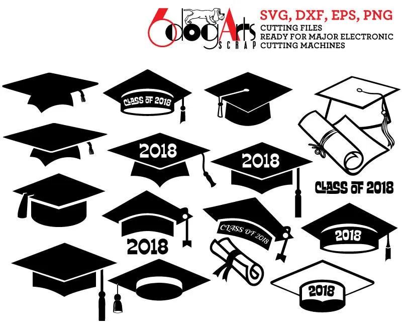 Graduation Cap Class of 2018 Digital Vector Cut Files Svg Dfx