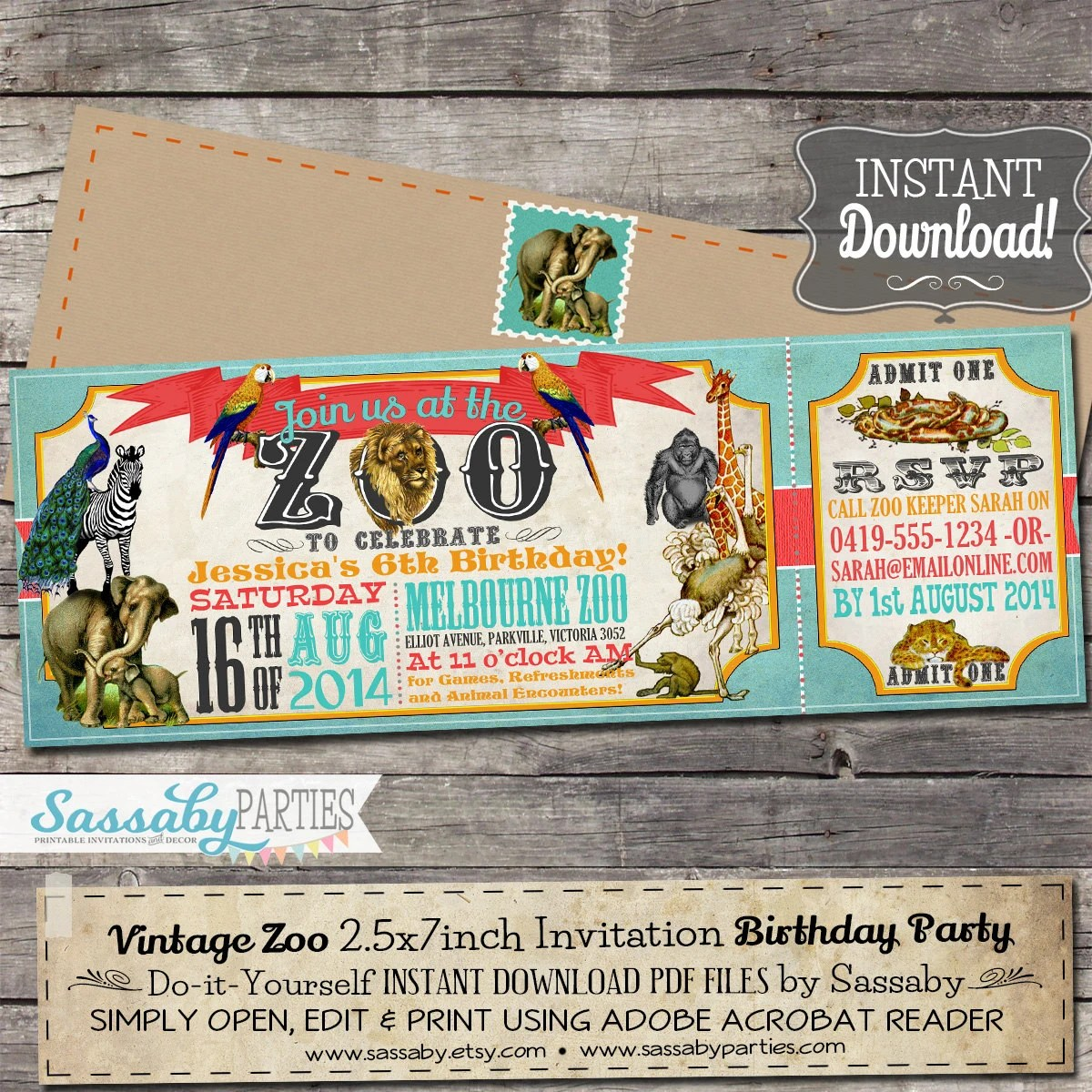 Vintage Zoo Ticket Invitation INSTANT DOWNLOAD Editable