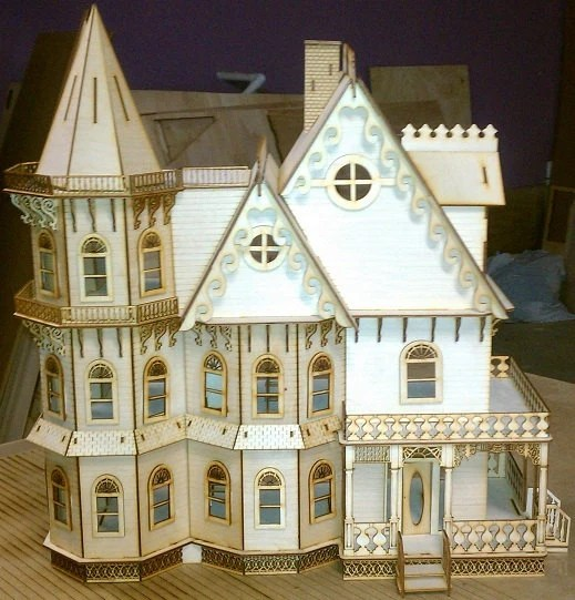 Leon Gothic Victorian Mansion Dollhouse Half inch scale Kit
