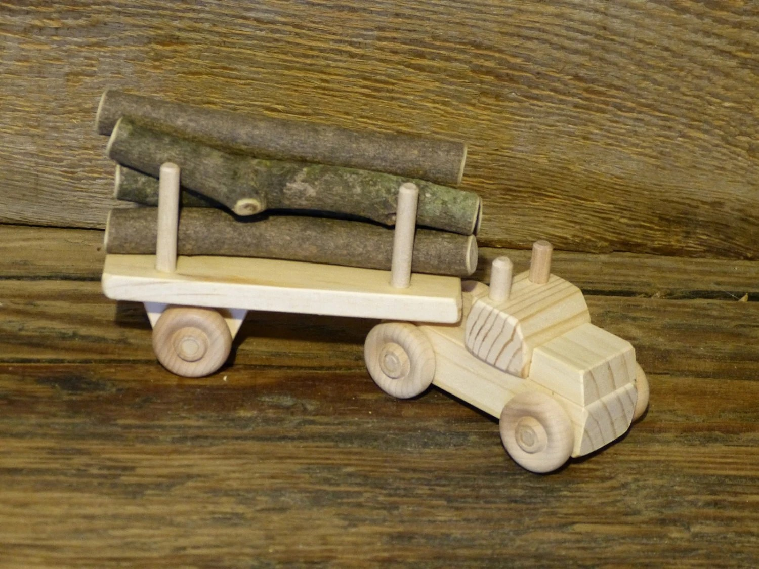 Handmade Wood Toy Log Truck Wooden Toys Eco Friendly Green