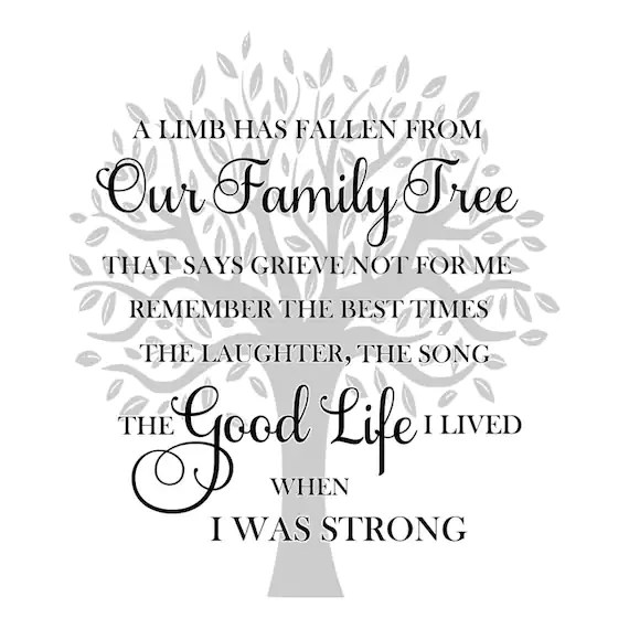 SVG A Limb has Fallen from Our Family Tree Memorial SVG