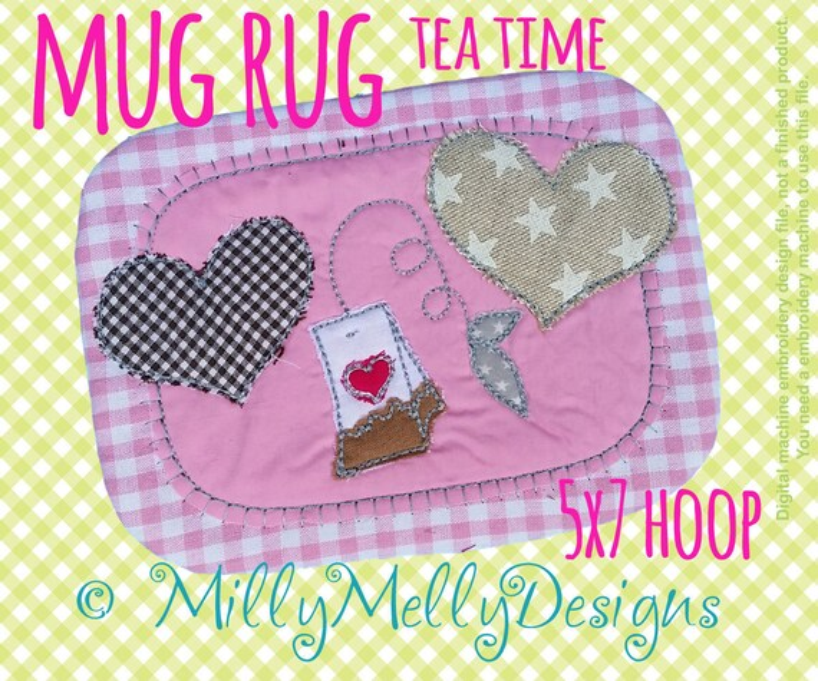 Tea mug rug - 5x7 hoop - In The Hoop - Machine Embroidery Design File, digital download