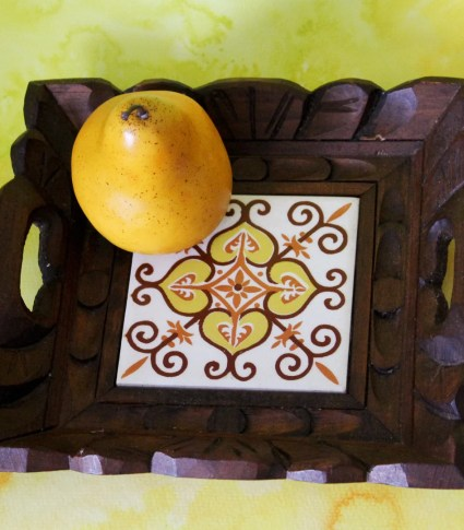 Carved Wood and Tile Bohemian Serving Tray: Mid Century Decorative Tray Boho Hippie Retro Cheese Board