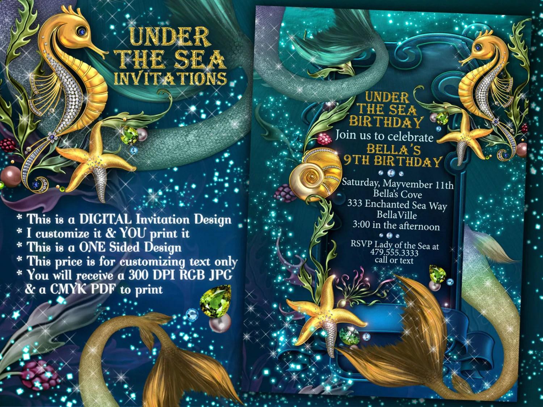 Under The Sea Mermaid Seahorse Party Mermaid Invitations