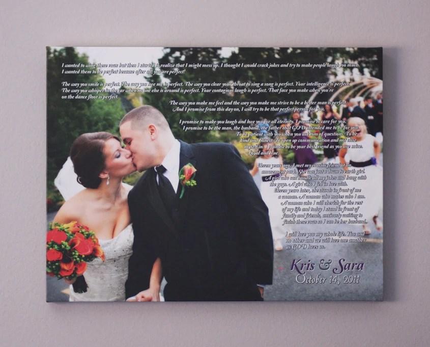 Wedding Canvas Vows Anniversary Gift Wedding Vow Art Wedding