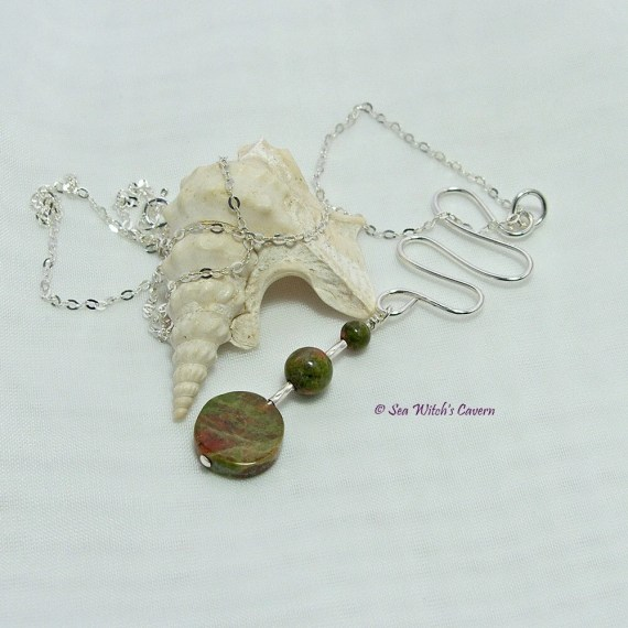 Drop Necklace with Unakite Pendant