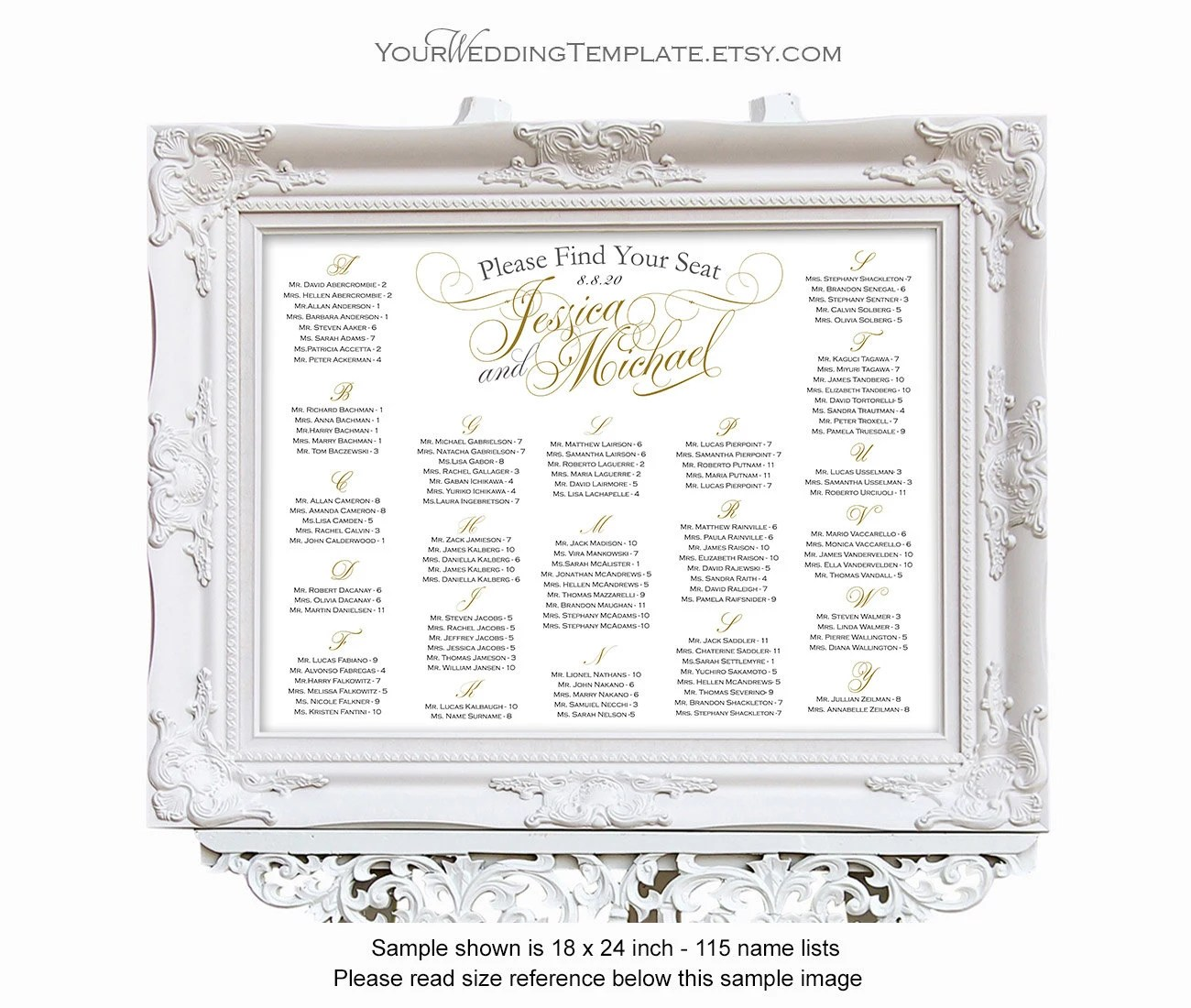 Wedding seating chart alphabetical printable elegant script decorations personalized also poster rh etsy