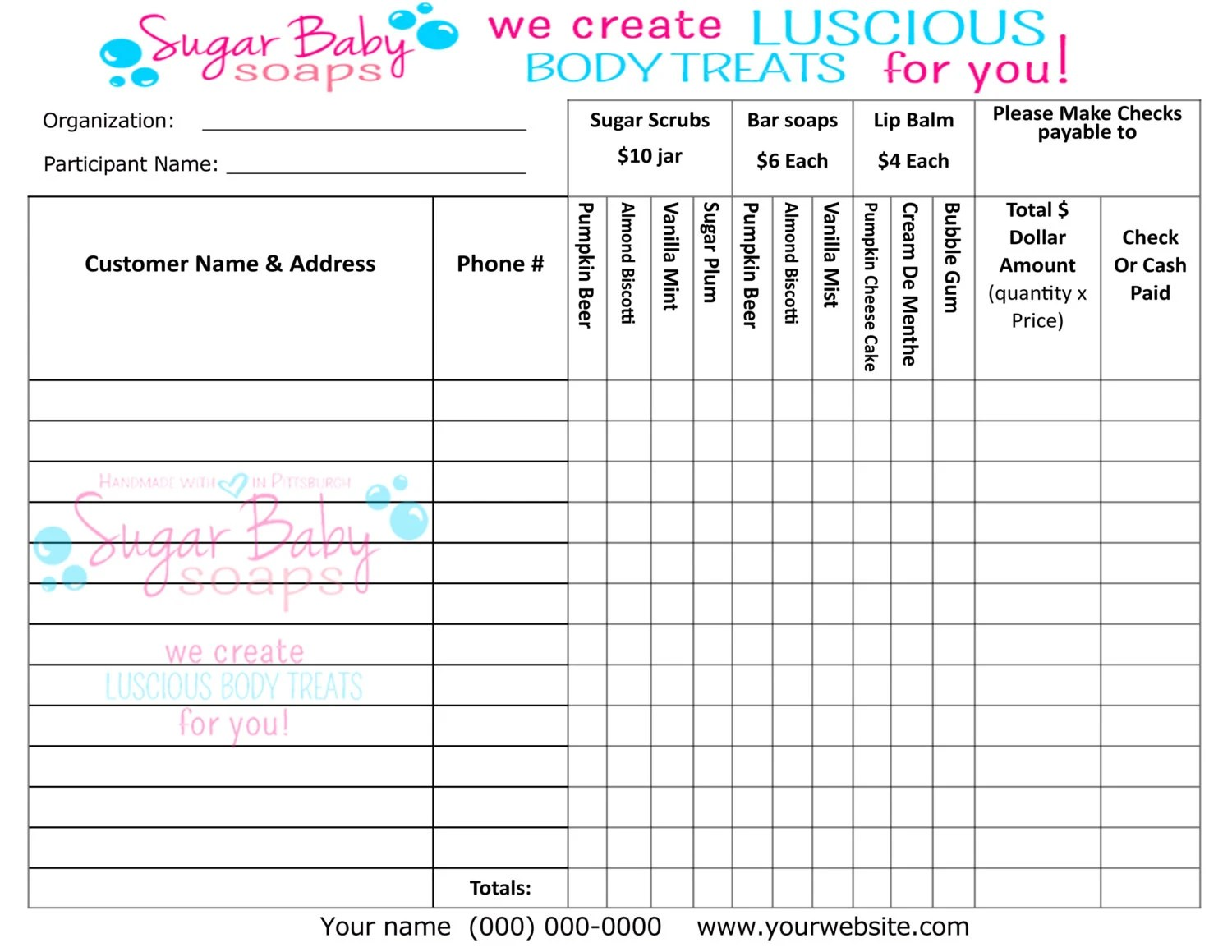 Form Order Fundraiser Template Scentsy