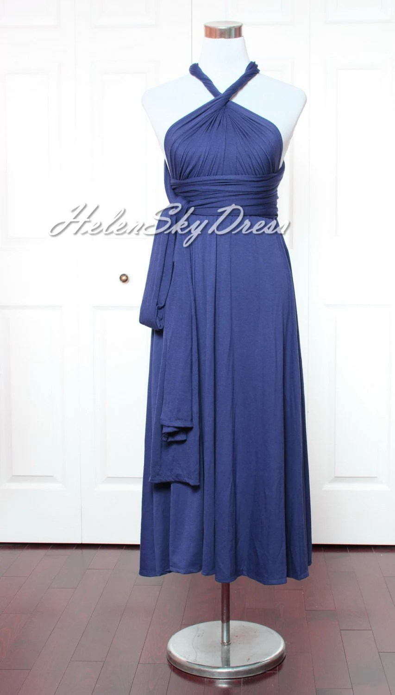 Wrap Convertible Infinity Dress Navy Blue Evening Dresses