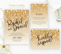 Gold wedding Invitation sets Glitter wedding invitation