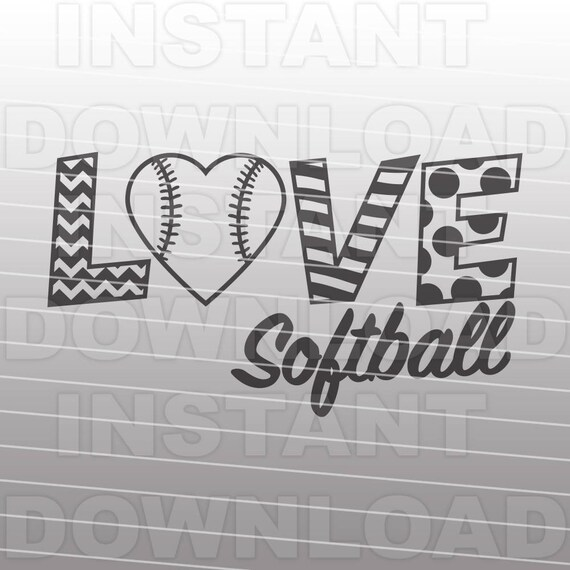 Download Love Softball SVG File Softball Heart SVG File Commercial